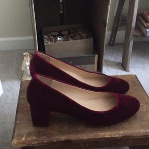Velvet stacked heel